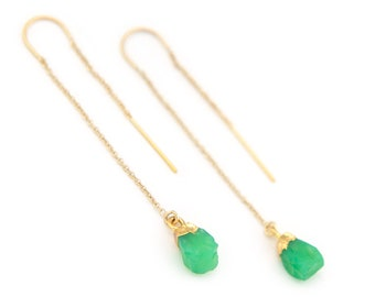 Chrysoprase Earrings, Mint Green Threader Earrings, Dainty Gold Threaders, Tiny Crystal Earrings, Raw Gemstone Threaders, Bridal Gift, TH-N