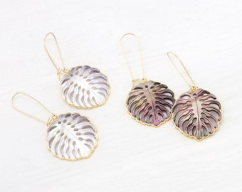 Palm Leaf Earrings, Botanical Statement Earrings, Mother of Pearl / Abalone Shell, Summer Jewelry, Tropical Monstera Leaf, Gold Filled Hook