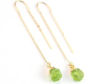 Peridot Stone Drop Earrings, August Birthstone Threader Earrings, Birthday Gift for Her, Rough Green Stone, Ear Threads, Tiny Crystal, TH-N