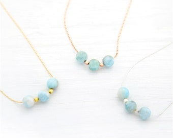 Simple Gemstone Necklace, Sterling Silver, Rose Gold, Gold Filled, Dainty Chain, Round Stone Bead Necklace, Gemstone Choker, NK-3B