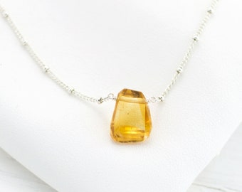 Dainty Citrine Pendant, November Birthstone Gift, Gemstone Drop Necklace, Sterling Silver Satellite Chain, Layering Necklace Gift, NK-ST