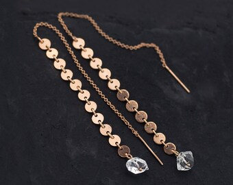 Raw Herkimer Diamond Rose Gold Threaders, Statement Earrings, Circle Drop Earrings, Boho Thread Through, Celestial Stone Long Chain Earrings