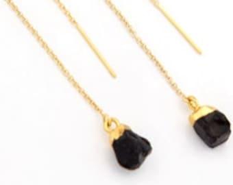 Black Onyx Earrings Gold, Long Dangle Earrings, Raw Crystal Threader Earrings, Dainty Earrings Dangle, Simple Stone, Minimalist Gift, TH-N