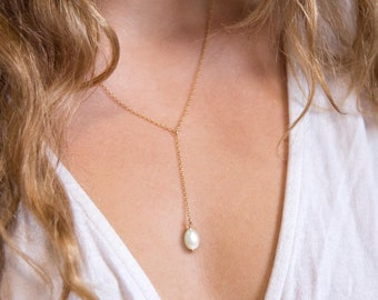 Dainty Pearl Drop Necklace, Minimalist Gold Filled Lariat, Bridesmaid Gift for Her, Rose Bridal Party Jewelry, Simple Layering Y Necklace