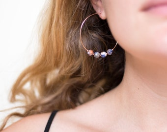 Boho Statement Hoops, Natural Sodalite Earrings, Dainty Rose Gold Hoop, Beaded Hoop Earrings, Charm Hoops, Yogi Gift, Gemstone Hoops, HP-4B