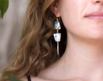 Modern Dendrite Opal Earrings, Geometric Jewelry, Spike Earrings, Dangle Drop Earrings, Statement Jewelry, Wedding Earrings, Gifts for Her