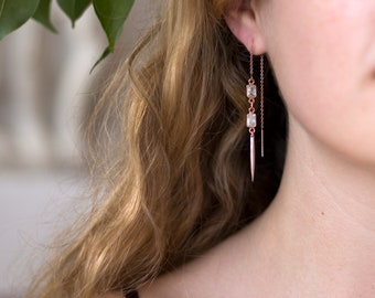 Rose Gold CZ Spike Earrings, Dangle Earrings, Needle Spike Earrings, Statement Earring, Modern Bride, Cubic Zirconia, Bridesmaid Gift, TH-RG