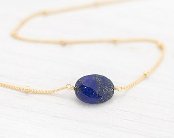 September Birthstone Necklace, Lapis Lazuli Choker, Dainty Bead Chain, Layering Necklace, Wire-Wrapped Stone, Lapis Necklace, Gift For Teen