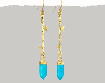 Turquoise Earrings Dangle, Branch Earrings, Nature Earrings, Twig Earrings, Gemstone Point, Jewelry That Inspires, Outdoors Gift, Boho Gifts