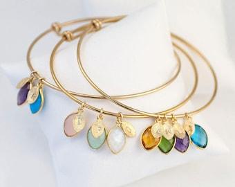 Custom Birthstone Charm Bracelet For Mom, Grandmother Gratitude, Mothers Bracelet, Family Tree Bracelet,Personalized Bangle, Unique