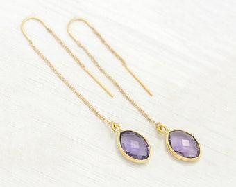 Purple Alexandrite Drop Earrings, June Birthstone, Lilac Alexandrite Quartz Threader Earrings, Spring Pastel Jewelry, Easter Earrings