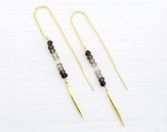 Smokey Quartz Earrings, Simple Stone Drop Threaders, Dainty Gold Threader Earrings, Ombre Jewelry, Girlfriend Gift, Sterling Silver Dangle