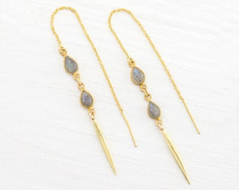 Dainty Labradorite Drop Threaders, Minimalist Gemstone Earrings, Gold Thread Through Chain Earrings, Gift for Her, TH-TD