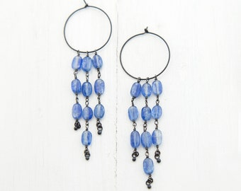 Statement Kyanite Dangle Earrings, Charm Hoops, Oxidized Silver Earrings, Summer Jewelry, Gifts for Her, Blue Gemstone, Bridesmaid Earrings
