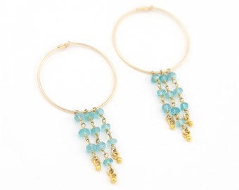 Beaded Gemstone Earrings, Charm Hoops, Tiny Apatite Stones, Crystal Earrings Dangle, Statement Hoop Earrings, Birthday Gift for Sister, Boho