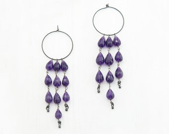 Purple Amethyst Chandelier Earrings, Charm Hoops, Statement Earrings, Oxidized Silver Earrings, February Birthstone, Birthday Gift for Her