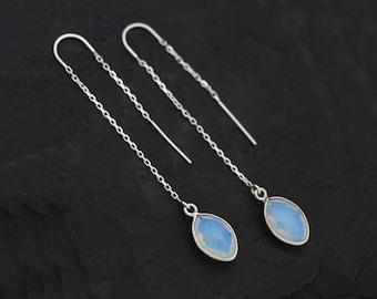 Glowy Opalite Threader Earrings, October Birthstone Gift, Opalite Earrings, Long Drop Earrings, Birthstone Jewelry, Personalized Gift