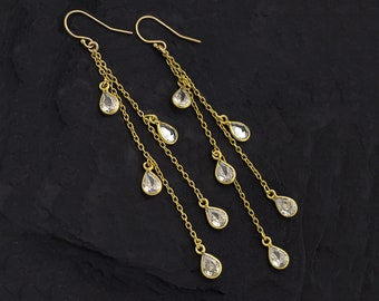 Gold Crystal Chandelier Earrings, CZ Raindrop Earrings, Simple Statement Earrings, Long Drop Earrings, Boho Chic Long Dangle Earrings