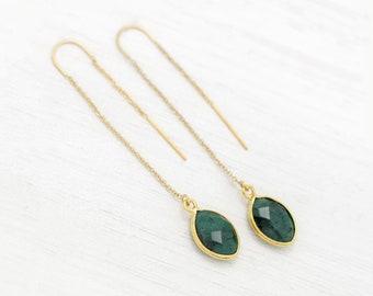 Genuine Emerald Drop Earrings, Natural Raw Emerald, May Birthstone, Gemini Zodiac Gift, Long Drop Threader Earrings, Festival Jewelry