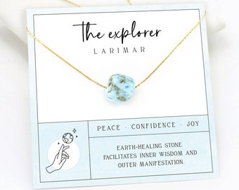 Natural Raw Larimar Necklace, Planet Earth Necklace, Wanderlust Gift, Explorer Healing Crystal Layering Necklace, Ready to Gift