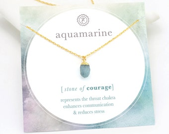 Dainty Aquamarine Necklace, March Birthstone Gift for Her, Raw Healing Crystal Jewelry, Courage Confidence Gemstone, Throat Chakra Necklace