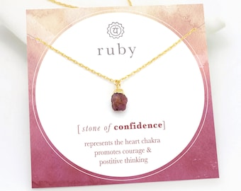 Raw Gemstone Necklace Delicate Necklace Dainty Necklaces Raw Ruby Necklace July Birthstone Necklace Rough Crystal Choker Necklace