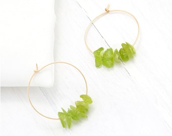 Peridot Crystal Earrings, Genuine Gemstone Hoops, 14k Gold Fill Hoops, Birthstone Hoop Earrings, August Birthday Gift, Stone Charm Earrings