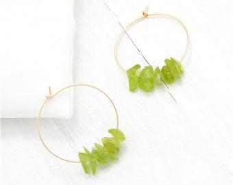 Peridot Crystal Earrings, Genuine Gemstone Hoops, 14k Gold Fill Hoops, Birthstone Hoop Earrings, August Birthday Gift, Gem Earrings, HP-RC