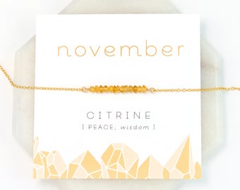 November Birthstone Necklace, Citrine Bar Necklace, Raw Crystal Necklace, Tiny Citrine Stones, Healing Gift, Inspirational Jewelry, NK-DB