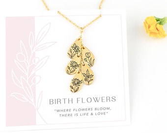 Mothers Personalized Birth Month Flower Necklace, Engraved Floral Pendant, Custom Mother's Day Gift, Birthstone Birth Month Flower Jewelry
