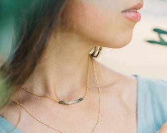 Ombre Aquamarine Bar Necklace, Dainty Gemstone Choker, Genuine Stone Bar Necklace, March Birthstone Necklace, Gift for Modern Bride, NK-DB