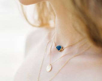 Dainty Gemstone Slice Necklace, 14k Gold Filled Layering Necklace, Lapis Lazuli Gemstone Choker, Bridesmaid Gift, Gift for Her, NK-GS