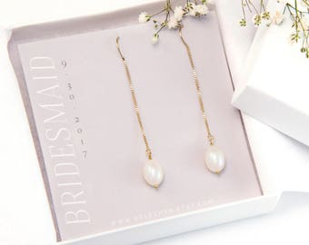 Custom Bridesmaid Gift, Freshwater Pearl Threader Earrings, 14k Gold Filled Pearl Drop, Bridesmaid Pearl Earrings, Long Pearl Earrings