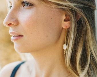 Organic Pearl Drop Earrings, Minimalist Threader Earrings, Multiple Piercing Earring, Loop Earrings, Freshwater Pearl Jewelry, Bridal Gift