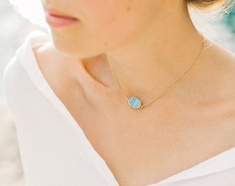 Blue Opal Slice Necklace, Gemstone Slice, Dainty Choker, Layering Necklace, Birthstone Jewelry, Everyday Jewelry, Modern Necklace, NK-GS