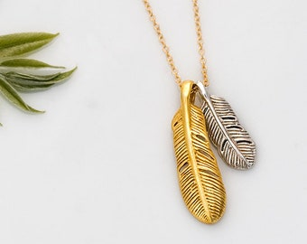 Gold and Silver Feather Necklace, Small Feather Charm, Layering Necklace, Wanderlust Jewelry, Family Necklace, BFF Jewelry, Woodland Jewelry