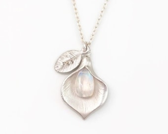 Rainbow Moonstone Necklace, Personalized Initial Necklace, June Birthstone Gift, Calla Lily, Nature Inspired Jewelry, Sterling Silver Chains