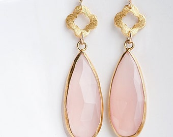 Pink Chalcedony Earrings - Pink Gemstone Earrings - Four Leaf Clover earrings - Gold Earrings - Long Drop earrings