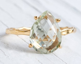 Green Amethyst Ring Gold, Solitaire Ring, Birthstone Ring, Gemstone Ring, Stacking Ring, Gold Ring, Tear Drop Ring, Prong Set Ring, RG-PP