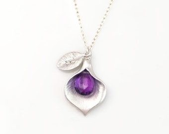 Custom Amethyst Necklace, Stamped Initial Charm, Silver Chain, February Birthstone Gift, Tiny Stone Drop, Unique Personalized Calla Lily