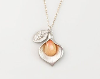 Ethiopian Fire Opal Necklace, October Birthstone Gift, Tiny Welo Opal, Silver Chain, Calla Lily Flower Pendant, Custom Mother's Necklace