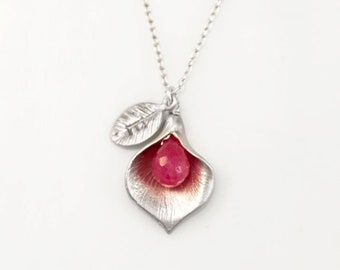 Genuine Ruby Calla Lily Necklace, Custom Silver Gift Pendant, Hand Stamped Initials, July Birthstone, New Mom Godmother Gift, Personalized