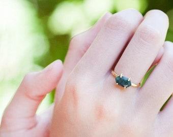 Stack Green Raw Emerald Ring Gold - May Birthstone Ring - Solitaire Stone Ring - Stacking Ring - Gold Ring - Marquise Prong Set Ring, RG-MQ