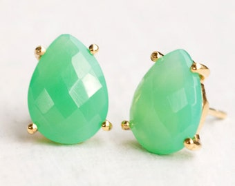 Chrysoprase Studs, Mint Green Stone Earrings, Prong Set Stone, Gold Stud Earrings, Post Earrings, Gemstone Studs, Birthday Gift Ideas