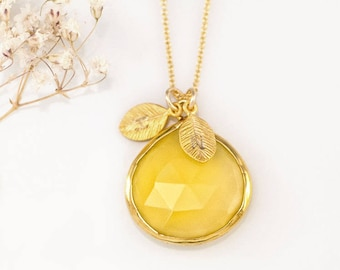 Statement Necklace Gold, Yellow Stone Necklace, Stamped Initial Necklace, Custom Gift, Personalized Jewelry, Meaningful Gift for Her, NK-20