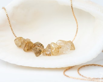 Golden Rutilated Quartz Necklace - Stone Bar Necklace - Rough Stone Necklace -Layering Necklace - Beaded Necklace