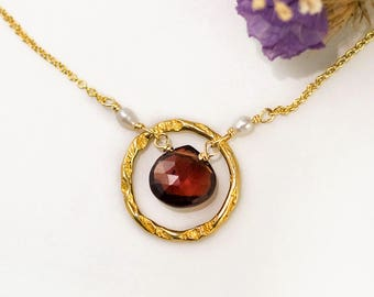 January Birthstone Necklace, Garnet Necklace Gold, Tiny Freshwater Pearls, Hammered Hoop, Karma Necklace for Mom, Holiday Gift, NK-HC