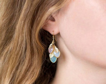 Personalized Gift for Mom, Family Tree Birthstone Earrings, Custom Name Jewelry, Handmade Keepsake Gift for Grandma, Initial Earrings, Xmas