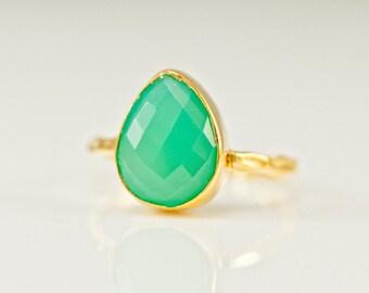 Mint Green Chrysoprase Ring - Gemstone Ring - Stacking Ring - Gold Ring - Tear Drop Ring - Solitaire Ring, RG-PB