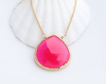 Fuchsia Necklace - Hot Pink Necklace - Gemstone necklace - Gold Necklace - Pink Chalcedony Necklace - Layered Necklace - Layering Necklace